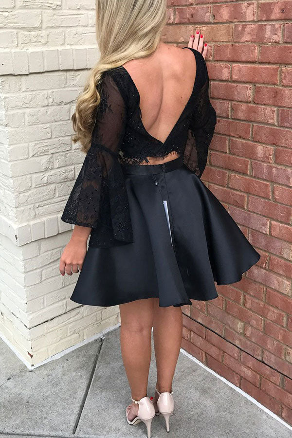 Two Piece Black Lace Homecoming Dress with Sleeves, Little Prom Dress from simidress.com