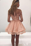 Tulle Zipper Back Long Sleeve Lace Homecoming Dress Party Dress from simidress.com