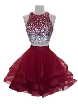 Burgundy Organza A-line Beaded Top Two Piece Homecoming Dresses, SH301