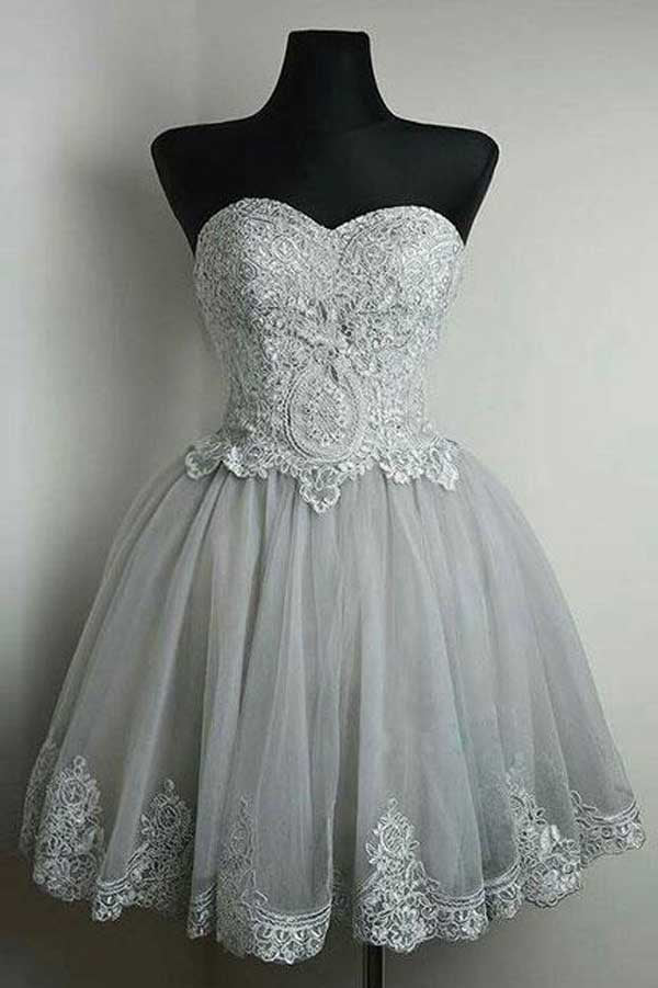 Grey Strapless Sweetheart Neck Homecoming Dresses Lace Appliqued Short Prom Dress, SH304