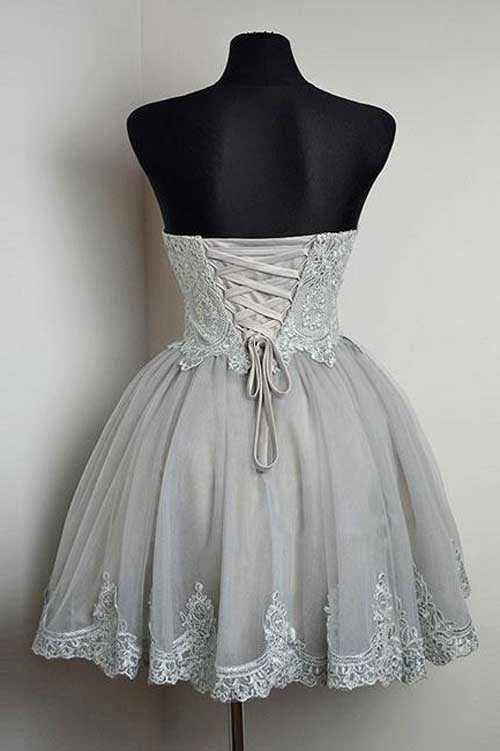 Grey Strapless Sweetheart Neck Homecoming Dresses Lace Appliqued Short Prom Dress from simidress.com