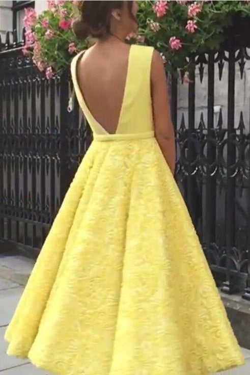 Cute Yellow Tea Length Deep V-neck Homecoming Dress, Lace Short Prom Dress from simidress.com