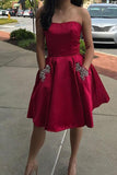 Cheap Red Simple Strapless Beaded Homecoming Dresses, Short Prom Dress, SH308
