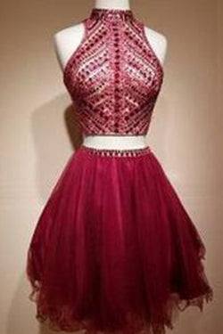 Two Piece High Neck Rhinestone Homecoming Dress Short Prom Dress Party Dress, SH309