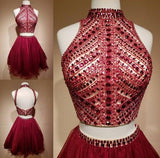 Two Piece High Neck Rhinestone Homecoming Dress Short Prom Dress Party Dress from simidress.com