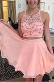 Chic Two Piece Tulle Charming Homecoming Dress Short Prom Dress Party Dress, SH310