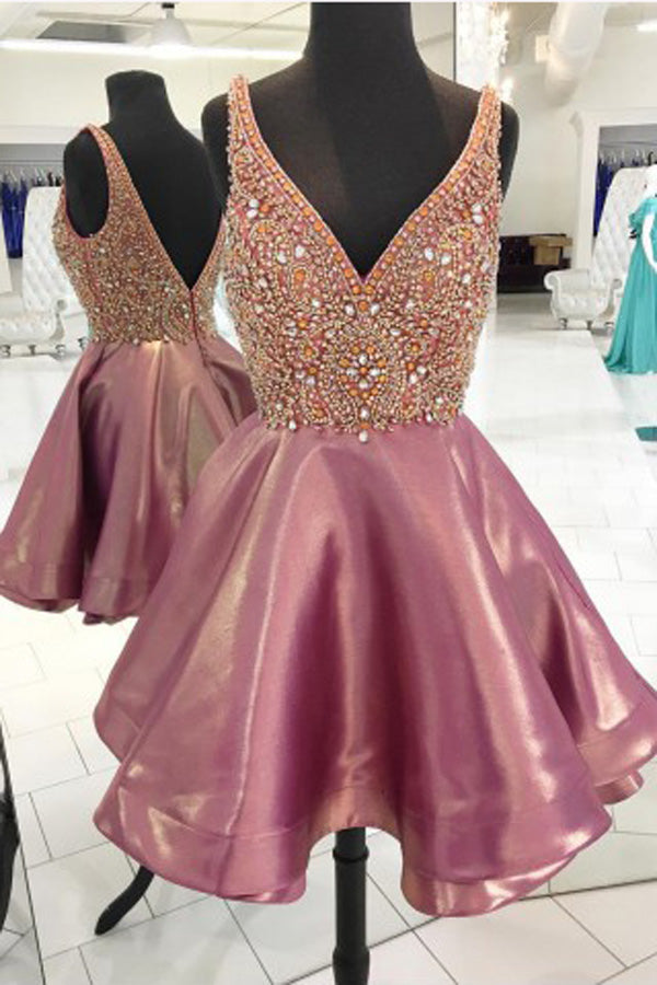 Fabulous Pink Sparkly Beaded Short Homecoming Dresses Party Dress, SH314