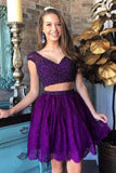 Two Piece Short Prom Dresses Purple, Cheap Homecoming Dresses on line, SH315