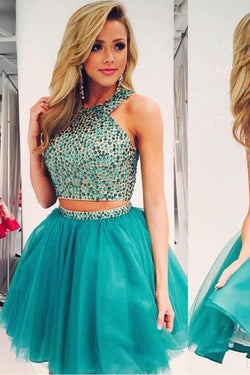Two Pieces Beaded Bodice Boho Hoco Homecoming Dresses Short Prom Dress, SH316