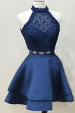 Navy Blue Two Piece Homecoming Dresses Short Prom Dress with  Lace Crop Top, SH318