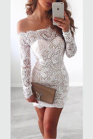 White Homecoming Dress,Lace Off shoulder Long Sleeves Homecoming Gowns,SH31