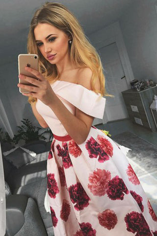 Floral Pink Satin A-Line Off-the-Shoulder Homecoming Dress Short Prom Dress, SH320