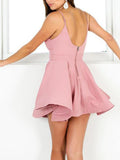 Simple Dusty Rose Homecoming Dresses V Neck Cute Short Prom Dresses from simidress.com
