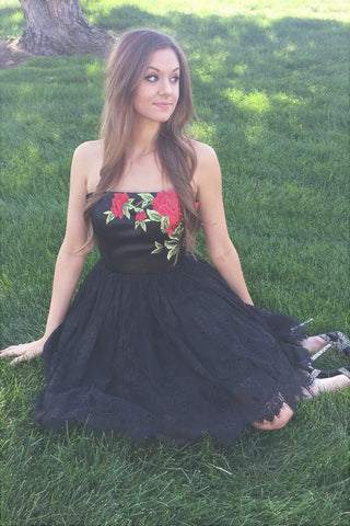 Black Princess Strapless Floral Embroidery Little Homecoming Dresses Prom Dresses, SH326