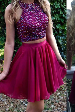Charming Homecoming Dress Short two pieces beaded halter lovely Short prom dress, SH327