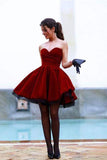 Simple Burgundy Cute Sweetheart Neck Short Prom Dress, Homecoming Dress SH331