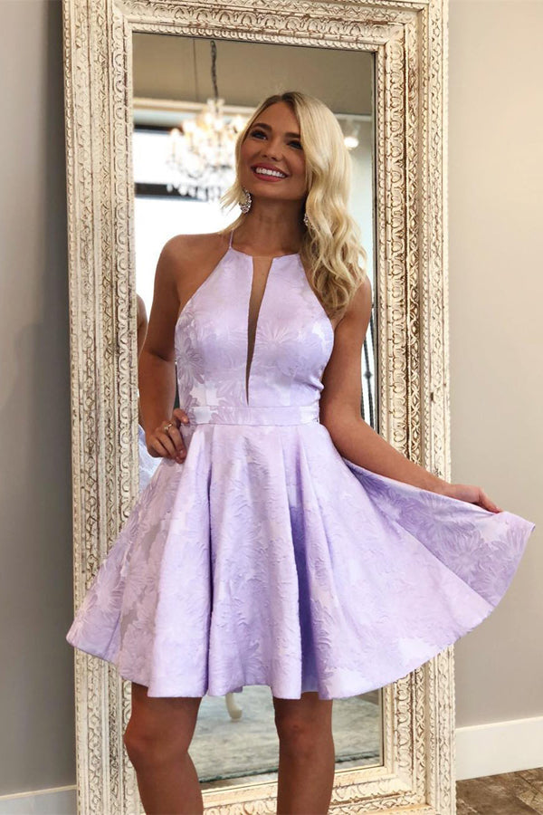 Lilac Floral Homecoming Dresses Halter Graduation Dress Party Dress SH333