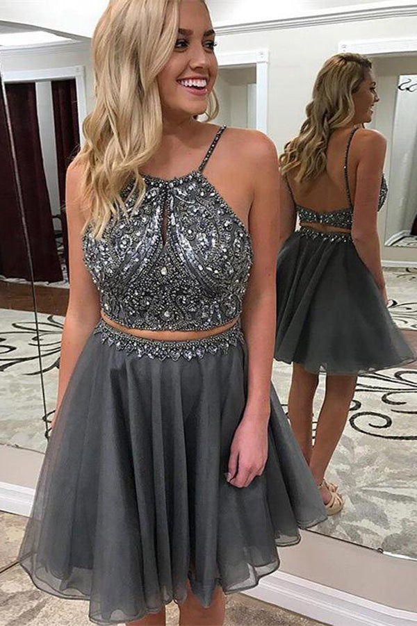 Two Piece Dark Grey Cheap Homecoming Dresses Beaded Short Prom Dresses, SH334
