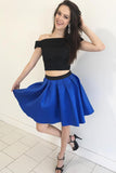 Two Piece Cheap Short Prom Dresses Simple Cute Homecoming Dresses SH336