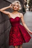 Burgundy Sweetheart Homecoming Dress, New Short Prom Dresses on line, SH337