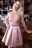 Pink Short Satin A-Line Jewel Homecoming Dress with Beading Appliques, SH338