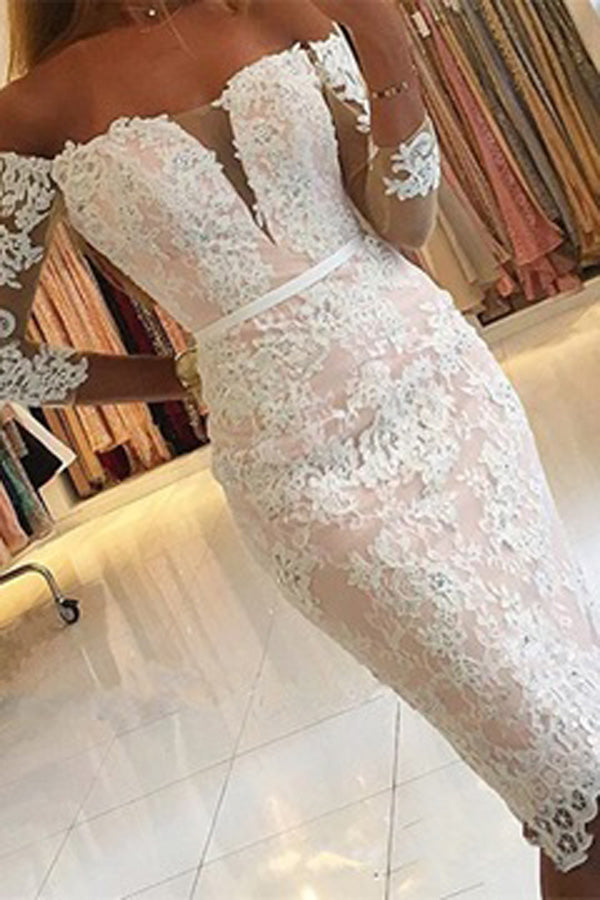 Pink Tight Sheath Lace Off shoulder Homecoming Dresses With Half Sleeve, SH341