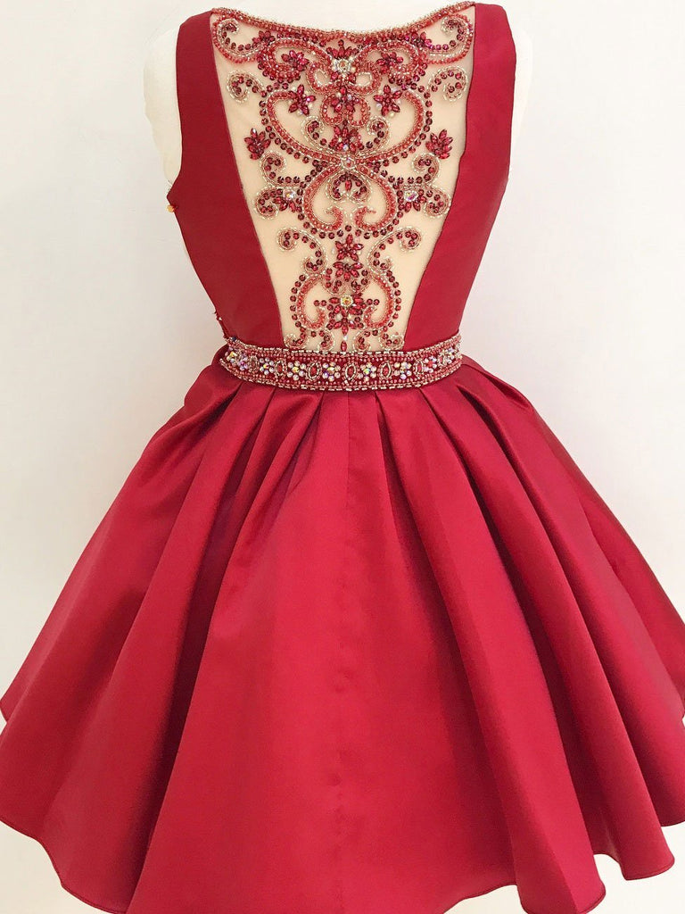 Burgundy A Line Beaded Homecoming Dresses for Junior, Short Prom Dress at simidress.com