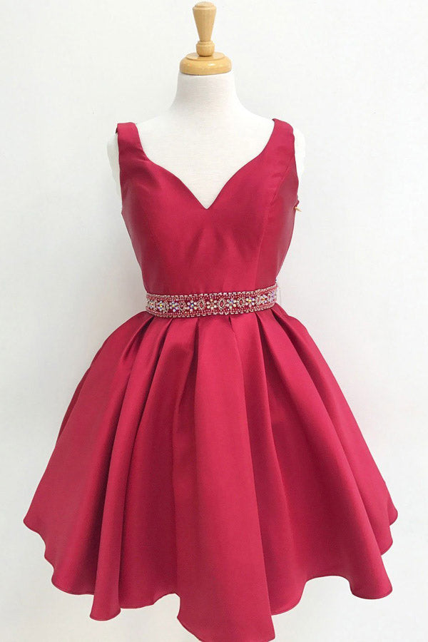 Burgundy A Line Beaded Homecoming Dresses for Junior, Short Prom Dress, SH401