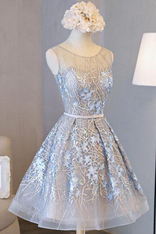 Silver Lace Homecoming Dresses Embroidered Short Prom Dress with Applique, SH345