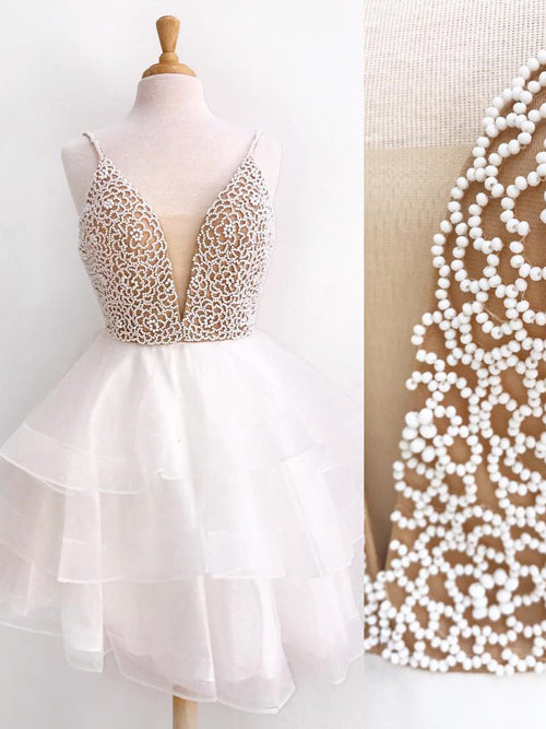 Ivory Beaded Mini Organza V neck Spaghetti Strap Homecoming Dresses Short Prom Dress from simidress.com