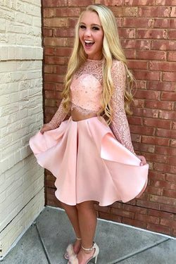 Pink Lace Satin Two Pieces Long Sleeves Homecoming Dress Short Prom Dress, SH348
