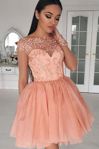 Blush Pink Short Prom Dresses Cap Sleeves Beaded Homecoming Dresses, SH349