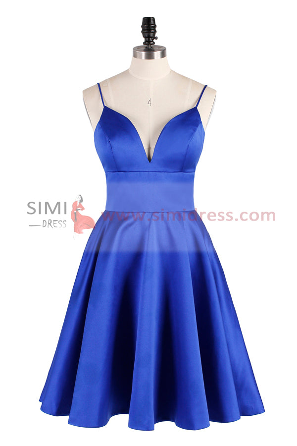 Blue A-line Spaghetti Straps Cute Homecoming Dress Short Prom Dress, SH351