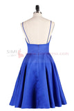 Blue A-line Spaghetti Straps Cute Homecoming Dress Short Prom Dress from simidress.com