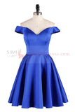 Cute Blue A-line Off Shoulder Homecoming Dress Short Prom Dress, SH352