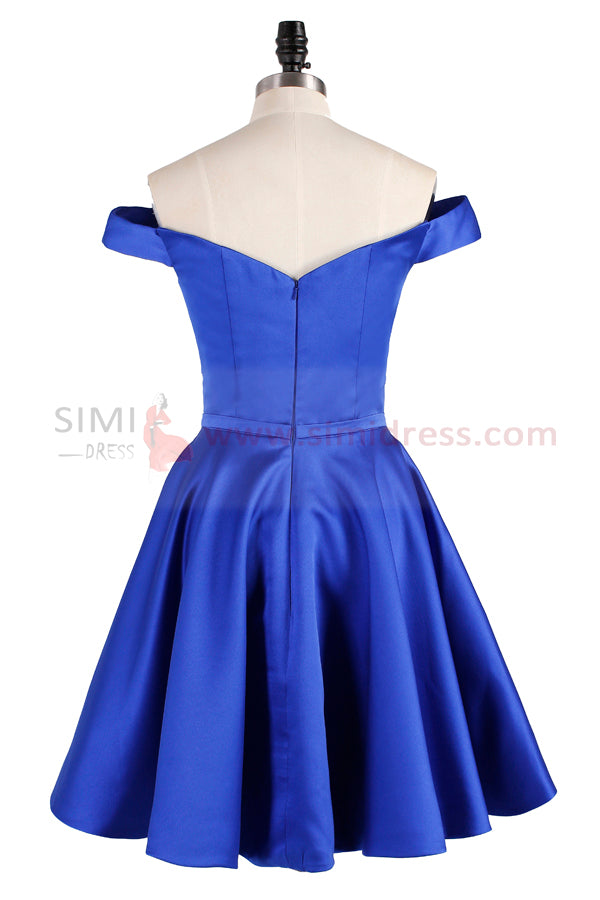 Cute Blue A-line Off Shoulder Homecoming Dress Short Prom Dress from simidress.com