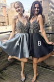 Silver Spaghetti Strap A Line V Neck Homecoming Dresses Short Prom Dress on Line, SH355