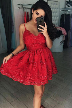 Red V Neck A-line Lace Homecoming Dresses Short Prom Dresses, SH356