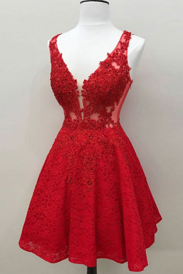 Red Lace V Neck Short A Line Skater Hoco Dress Beaded Homecoming Dress, SH358