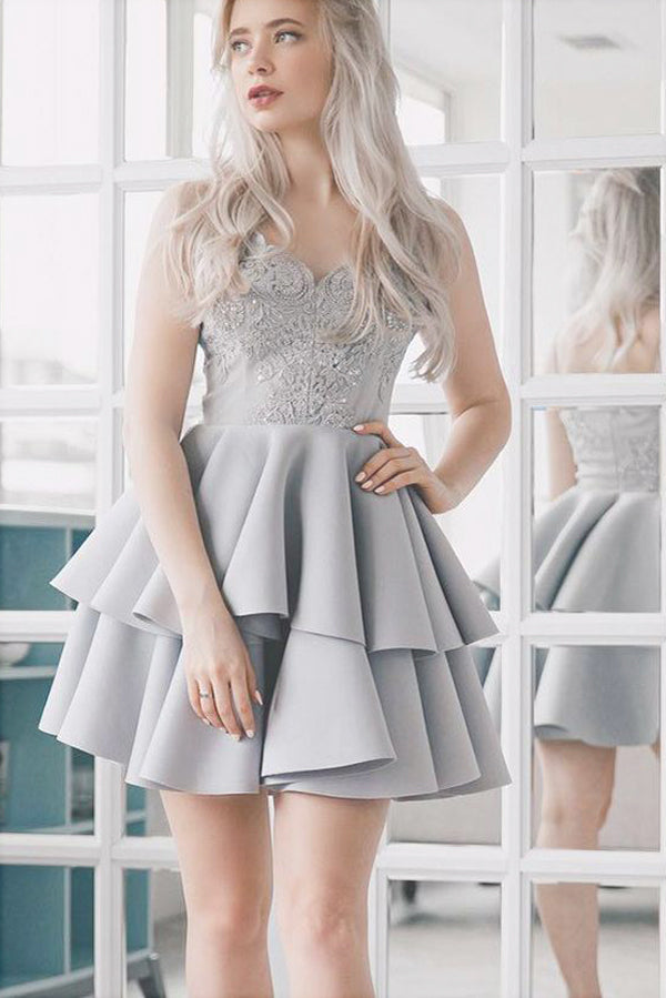 Silver Grey Lace Appliqued Spaghetti Strap Vintage Mini Homecoming Dresses, SH359