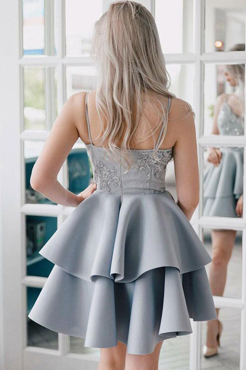 Silver Grey Lace Appliqued Spaghetti Strap Vintage Mini Homecoming Dresses|simidress.com