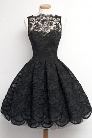 A-Line Sleeveless Scalloped-Edge Vintage Black Lace Prom Homecoming Dress, SH35