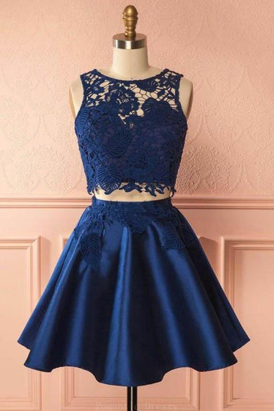 Navy Blue Two Piece Lace Homecoming Dresses Cheap Short Prom Dress, SH360
