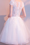 White Lace  A Line Scoop Neck Tulle Short Homecoming Dress, Bridesmaid Dresses|simidress.com
