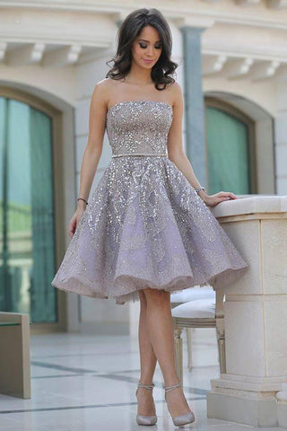 Fashion Off Shoulder A-Line Sleeveless Backless Homecoming Dress With Sequins, SH363
