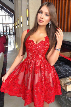 Cute Red A-Line Straps Short Homecoming Dress with Appliques, Party Dress, SH365