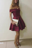 Burgundy Off-the-Shoulder A-Line Homecoming Dress, Short Party Dresses, SH366