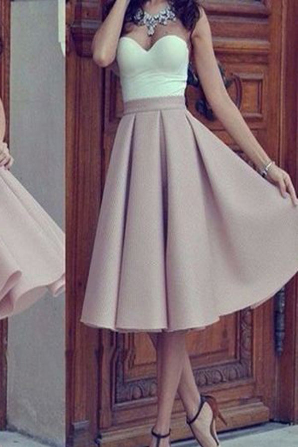 Unique Mismatched Simple Strapless Sweetheart Homecoming Short Prom Dress, SH367