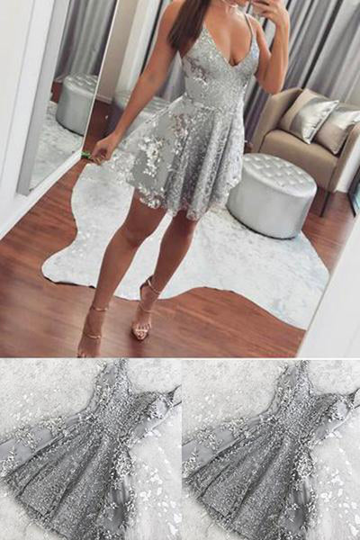 Silver Spaghetti Straps Backless V-neck Mini Lace Homecoming Dress SH369