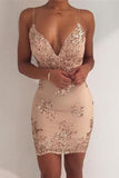 Sparkly Sheath Spaghetti Straps V-neck Sleeveless Homecoming Dress, Party Dress, SH372